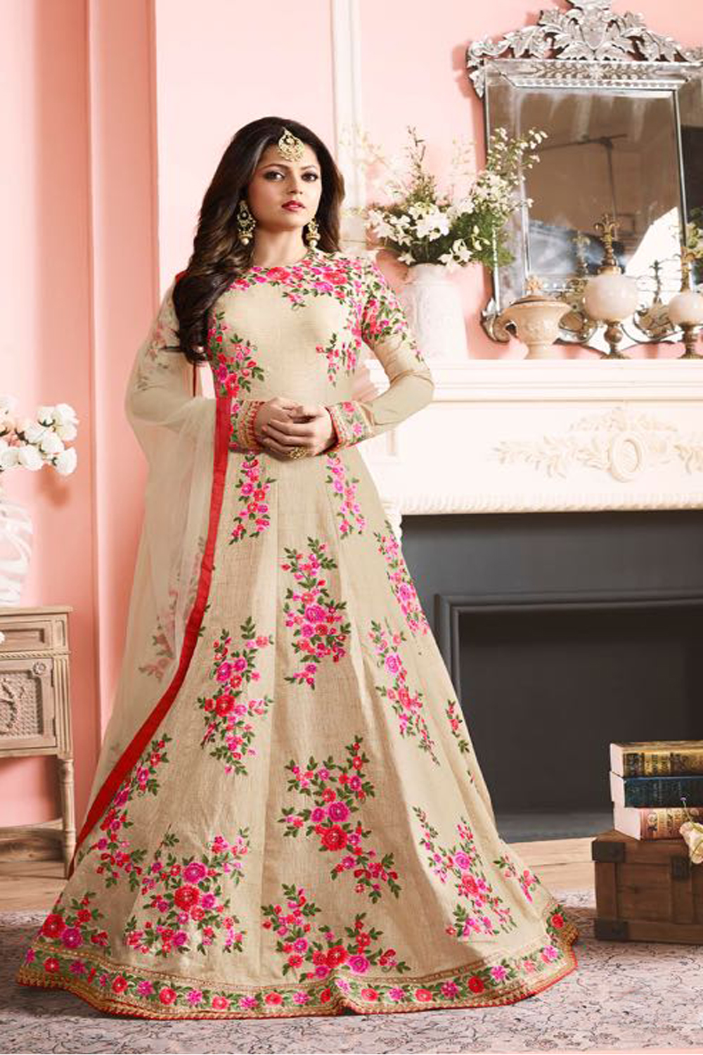Drashti Dhami Latest Indian Designer Anarkali Salwar Kameez Dress