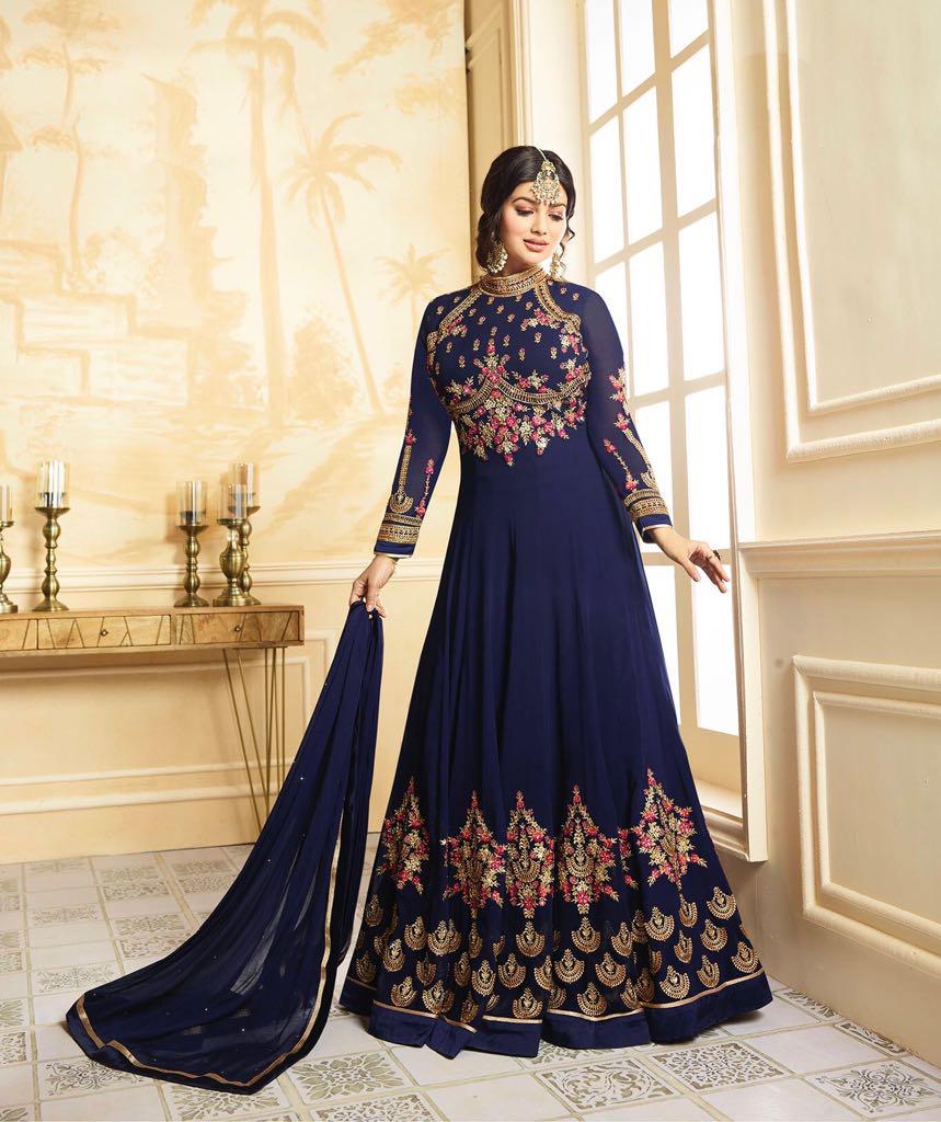 Ayesha Takia Blue Color Georgette Designer Anarkali Salwar Suit