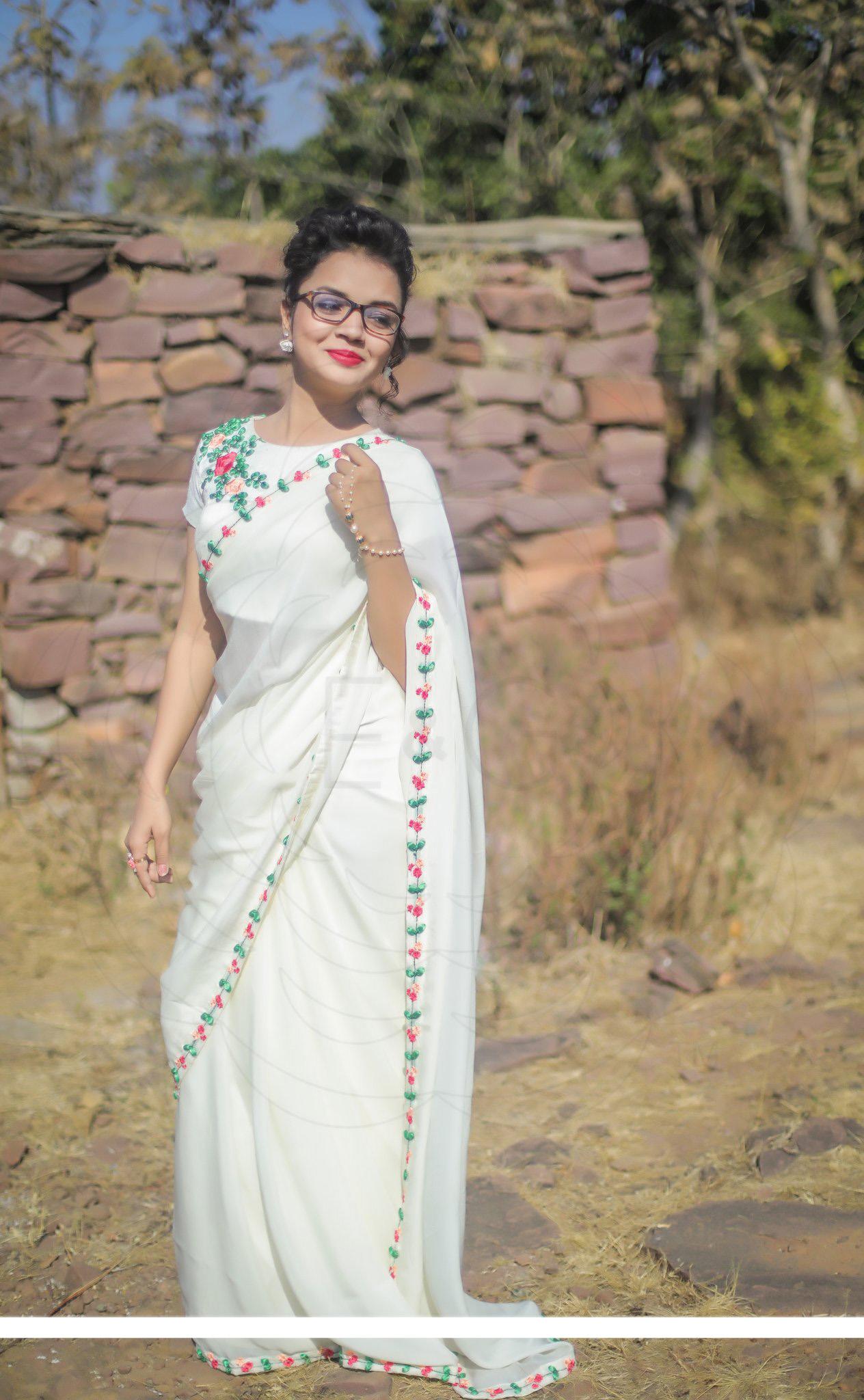 Creamery Pure Channderi Cotton Off White Color Embrodary Work Saree