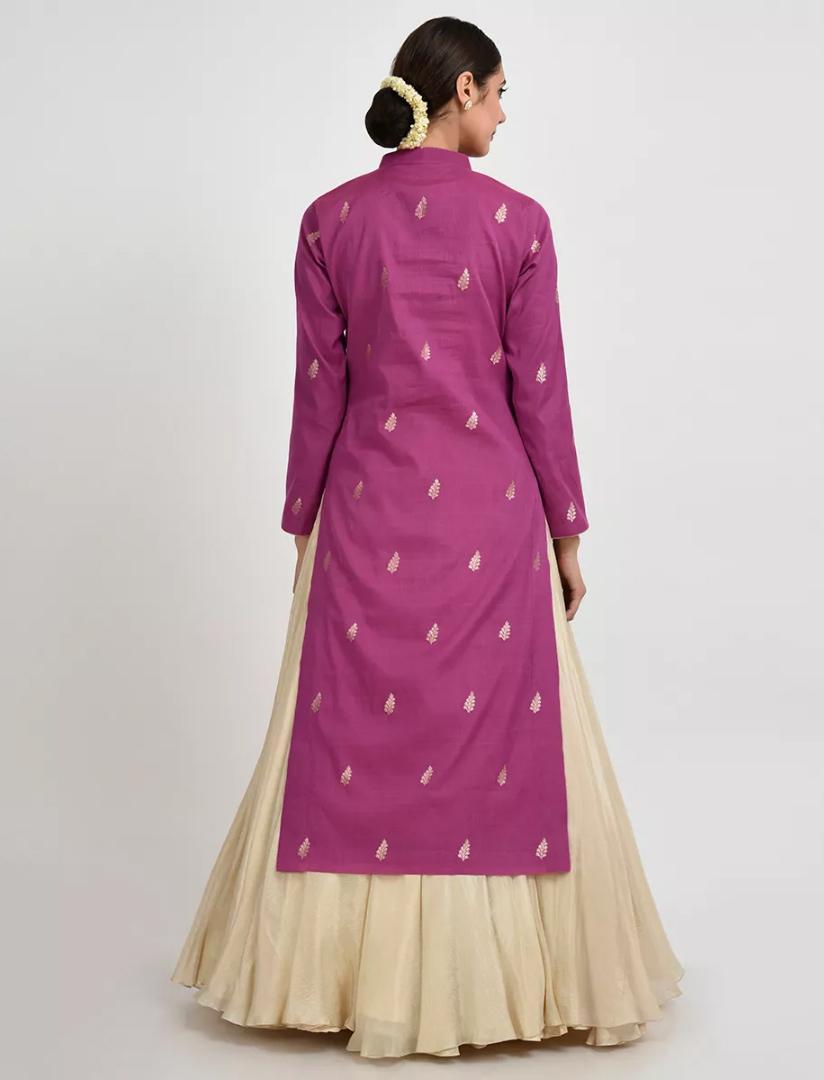 Designer Banglory Silk Purple Color Georgette Embroidery Lahenga Choli