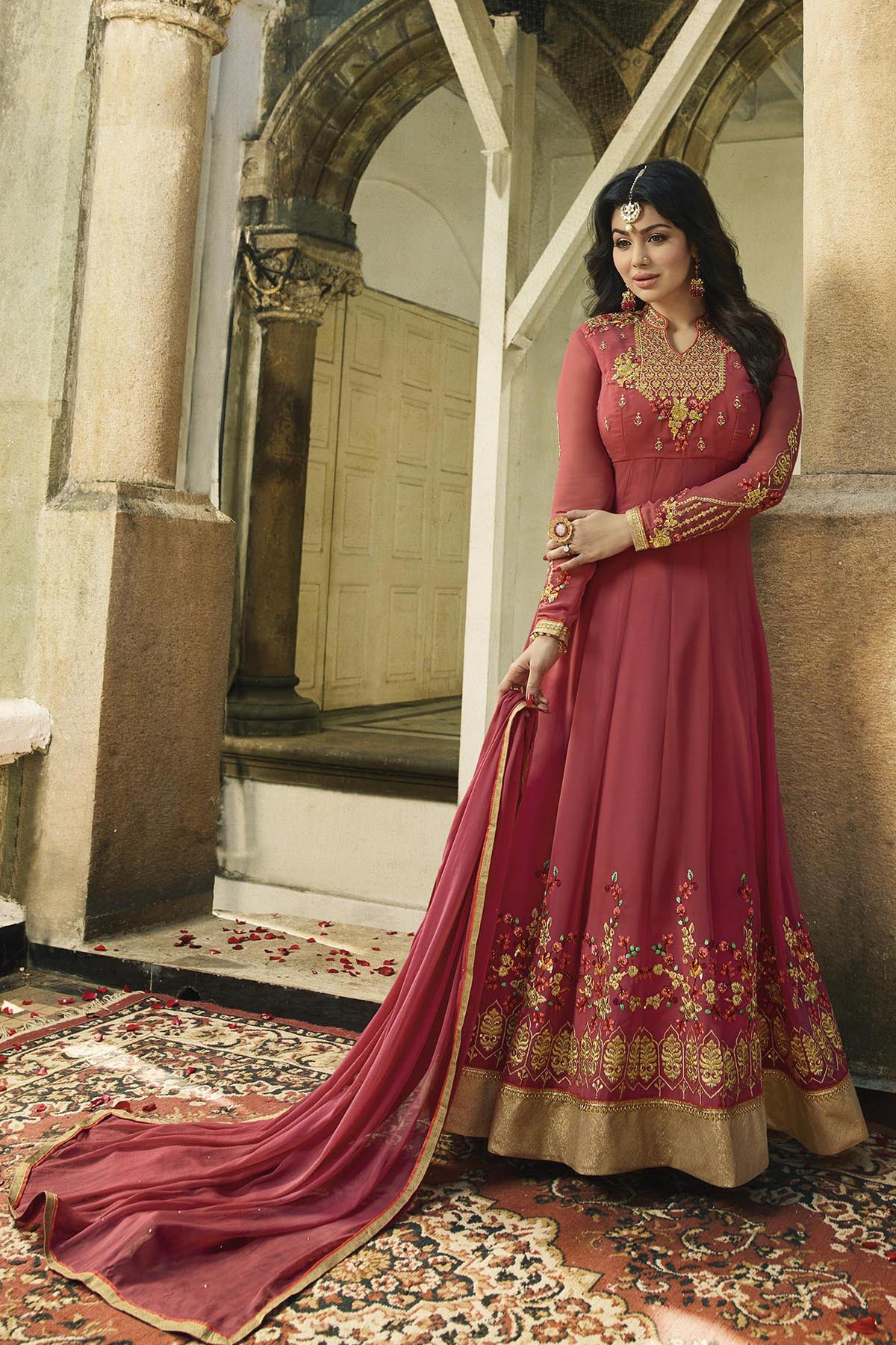 Ayesha Takia  Designer Georgette Dark Peach Color Embroidered Party Wear Suit