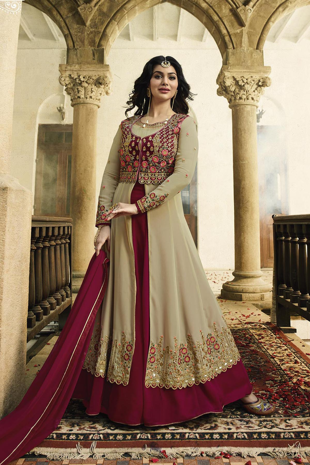 Ayesha Takia Designer Georgette Cream & Maroon  Color Embroidered  Party Wear Suit