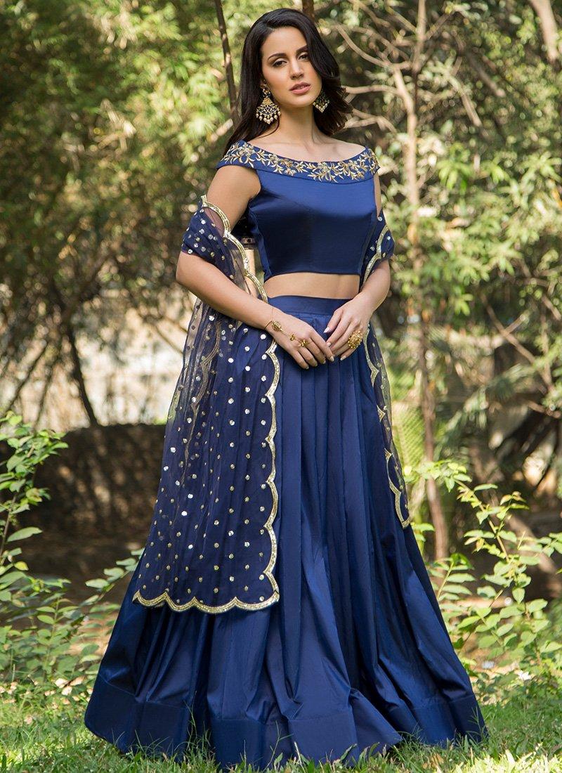 Designer Tapeta Silk Blue Embroidery Lahenga Choli 2019