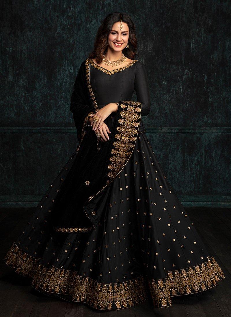 Black Taffeta Silk Anarkali With Velvet Shwal Dupatta