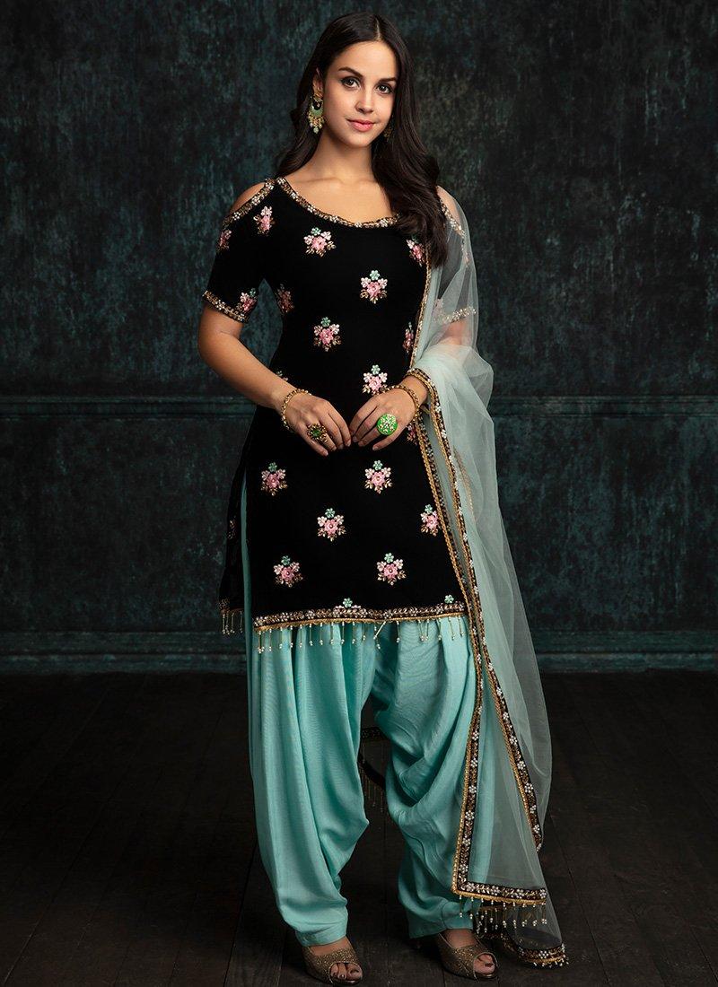 Black Velvet Punjabi Suit