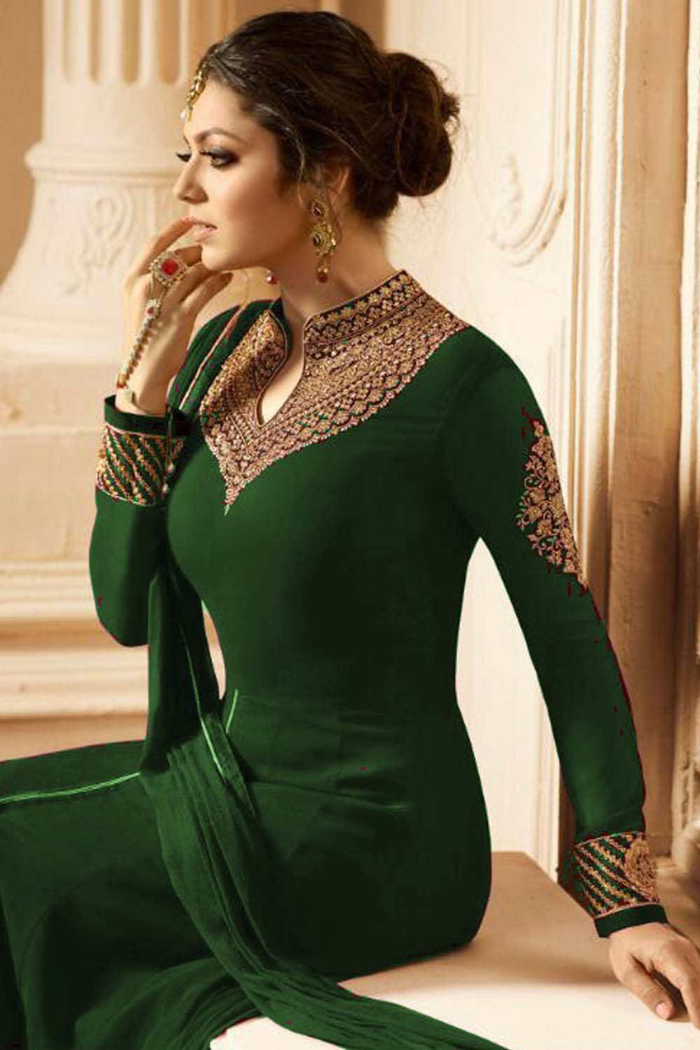 New Designer Faux Embroidered With Dupatta Green Suit