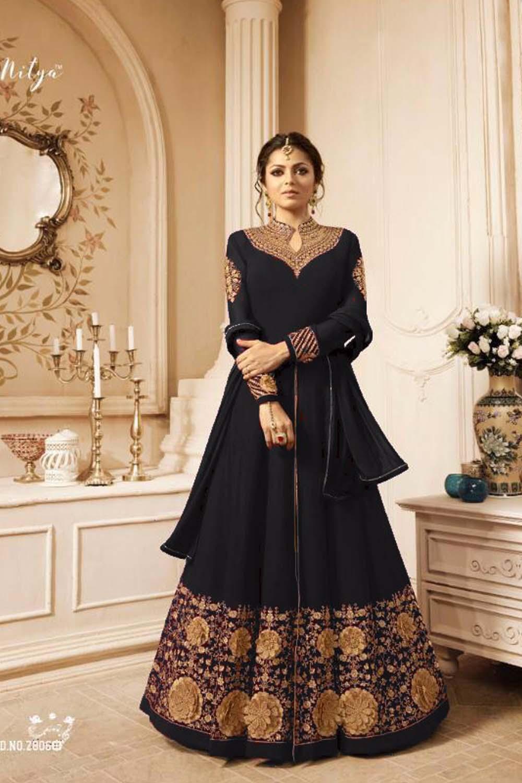 New Designer Faux Drashti Dhami  Embroidered With Dupatta Black Suit