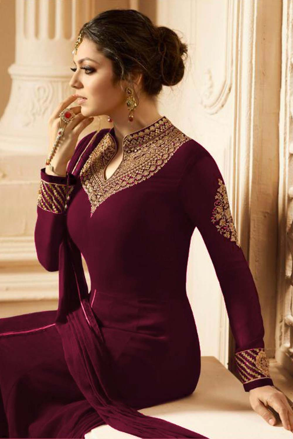 New Drashti Dhami Designer Faux Embroidered With Dupatta Maroon Suit