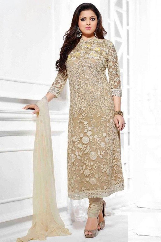 Drashti Dhami Designer Beige Strait Suit