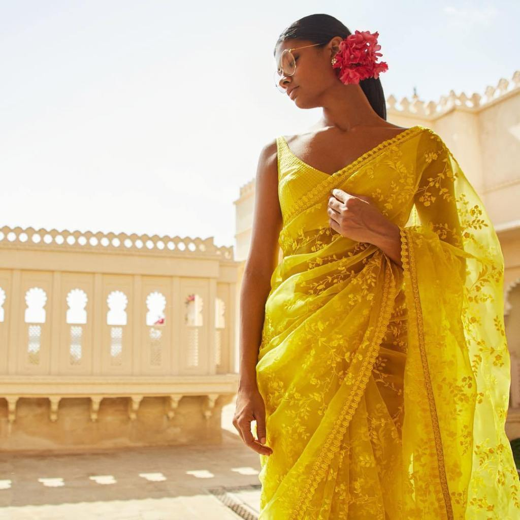 Sabhaysachi Latest Chanderi Cotton Embroidered Yellow Saree