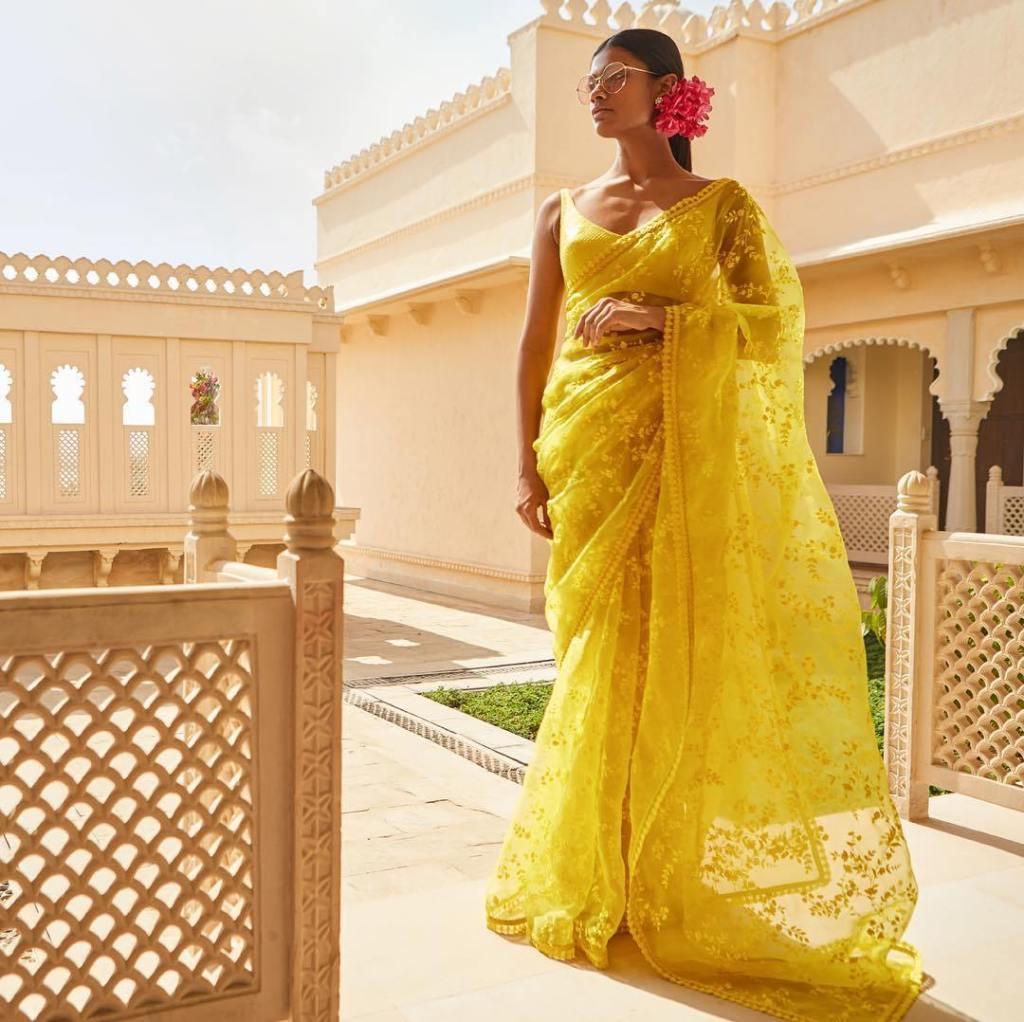 sabhaysachi-latest-chanderi-cotton-embroidered-yellow-saree