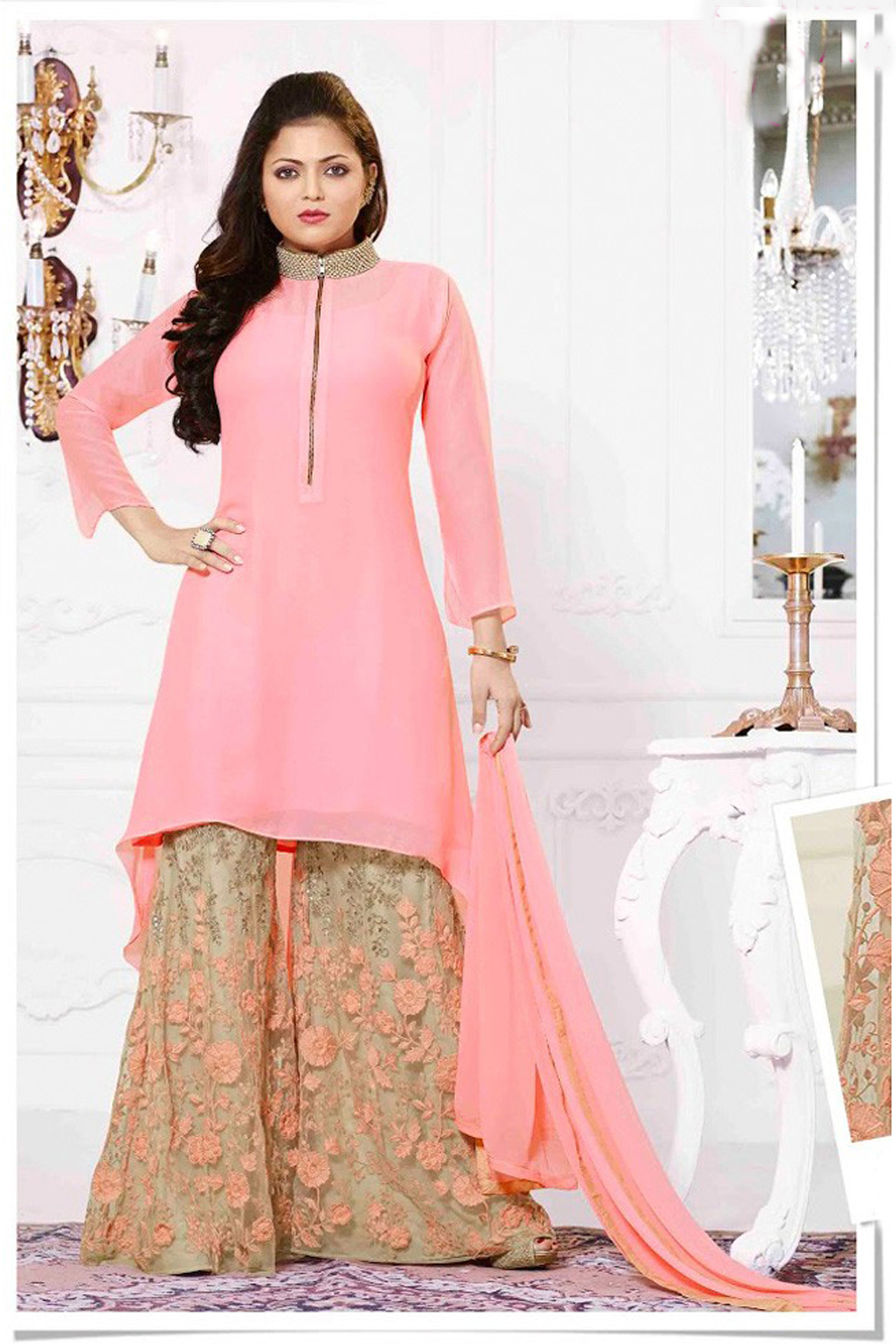 Drashti Dhami Peach And Beige High Neck Suit With Embroidered Plazzo