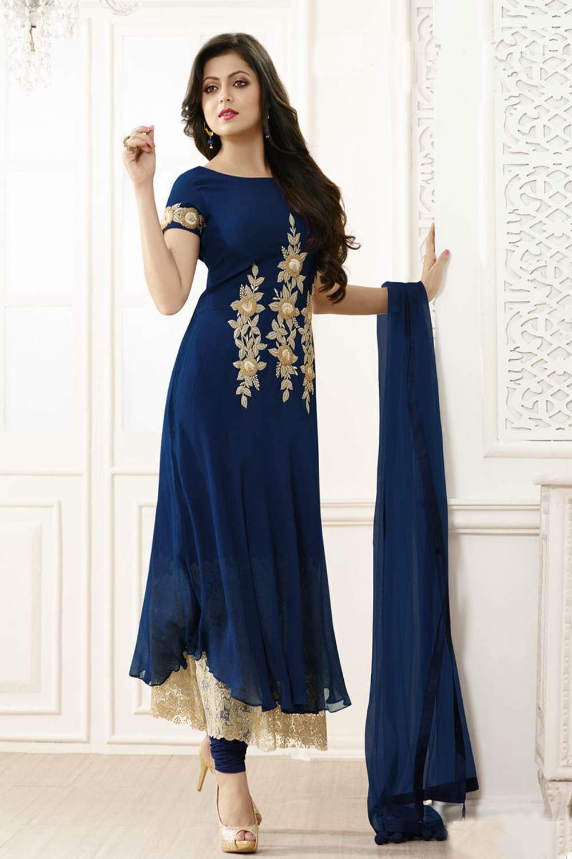 Drashti Dhami Designer Blue Georgette Salwar Suit