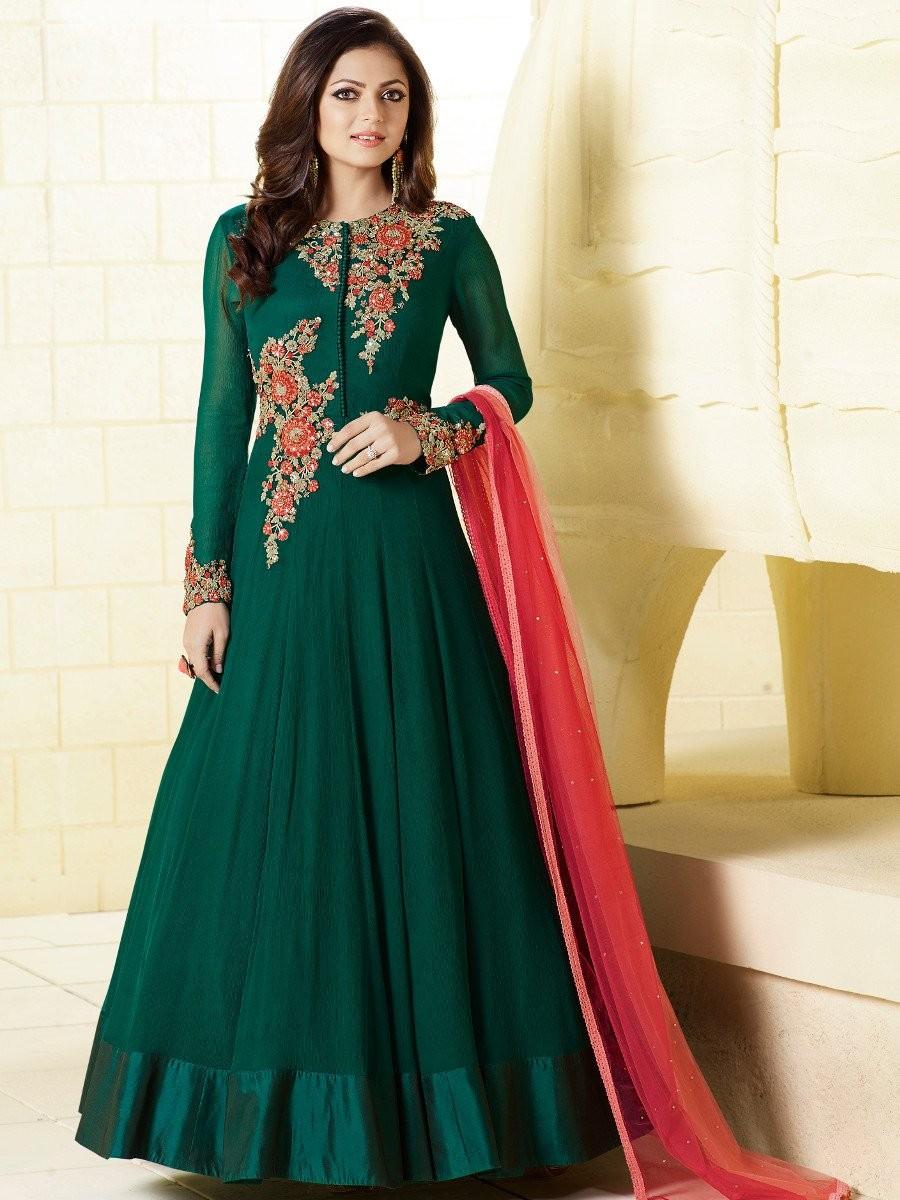 Designer Green Georgette Long Semi-Stitched Suit