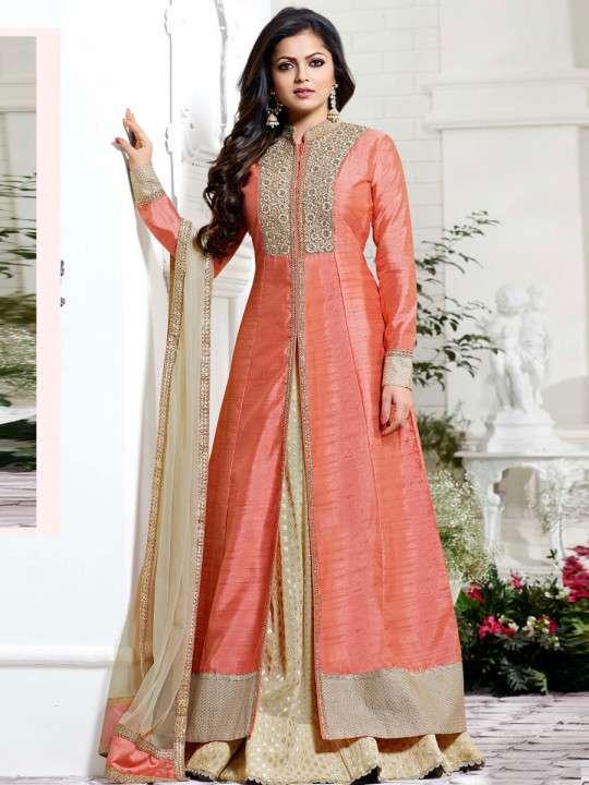 Designer Peach Albela Silk Long Semi-Stitched Suit