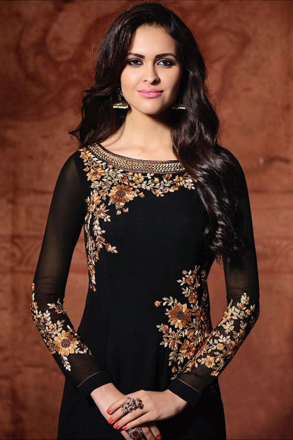 Beautiful  Designer Georgette Traditional Embroidered Party Wear Dres
