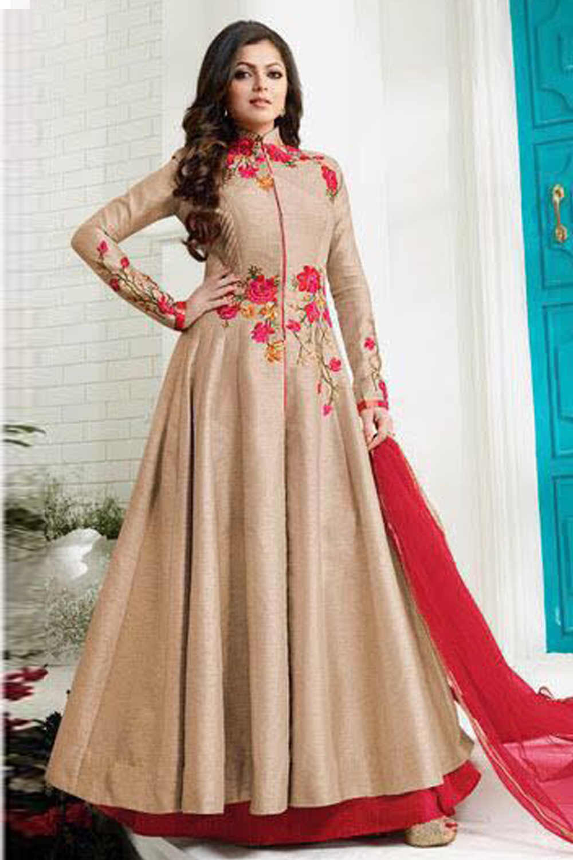 Drashti Dhami Latest Design Beige Color Embroidered Work Long Dress