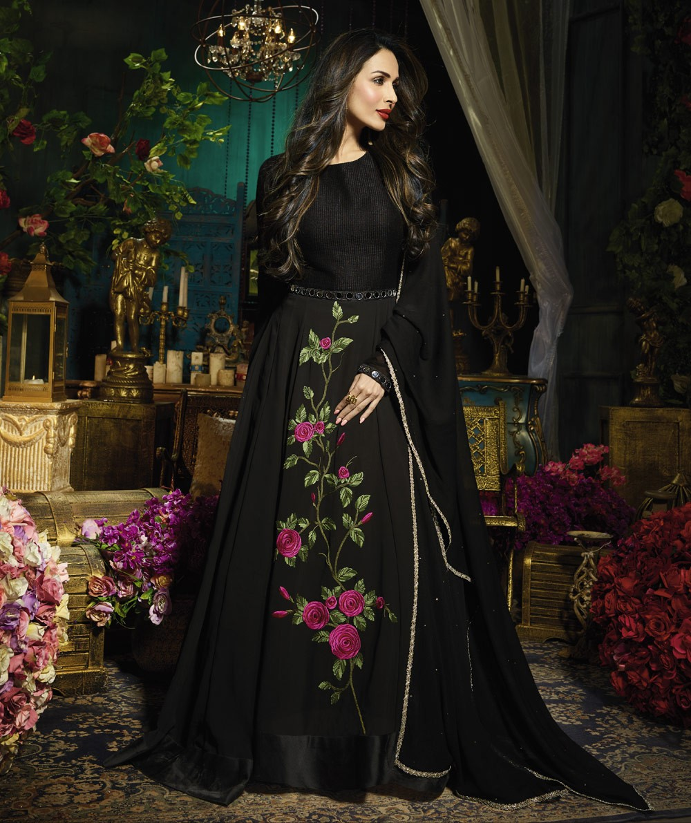 Black Floral Embroidered Bollywood Style Anarkali Dress