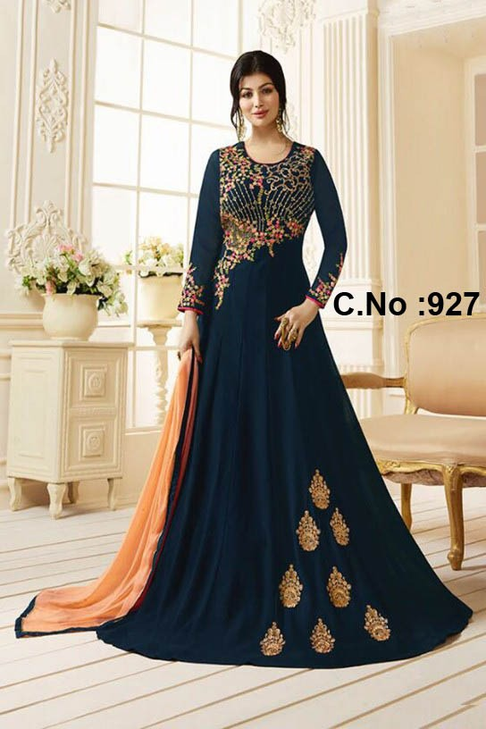 Ayesha Takia Designer Navy Blue Color Embroidered Work Straight Salwar Suit