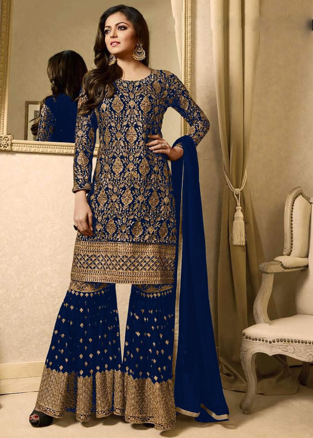 Drashti Dhami Blue Georgette Sharara Style Palazzo Suit