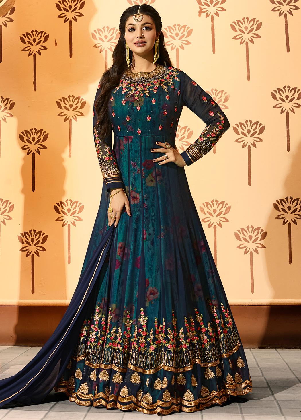 Ayesha Takia Blue Georgette Anarkali Suit