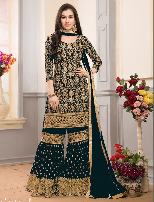 Drashti Dhami Green Georgette Sharara Style Palazzo Suit