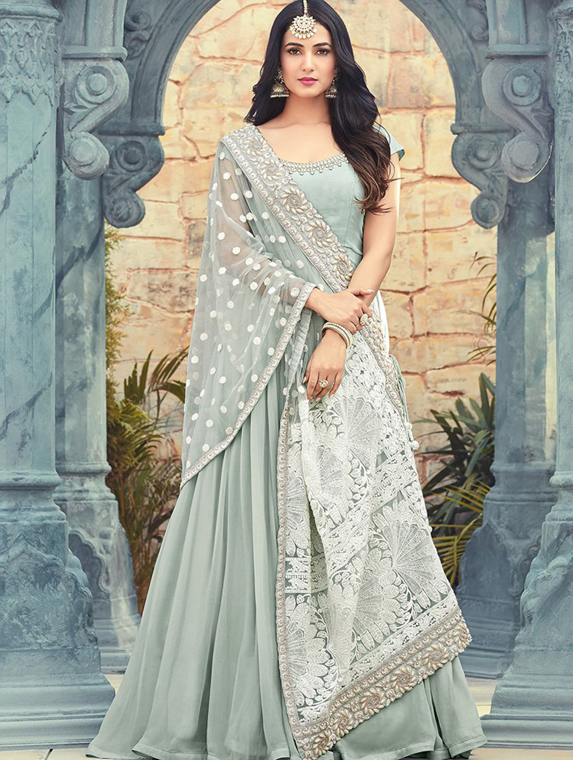 Faux Georgette Grey Anarkali Suit