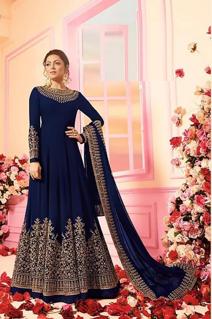 Drashti Dhami Faux Georgette Anarkali Suit In Blue Colour