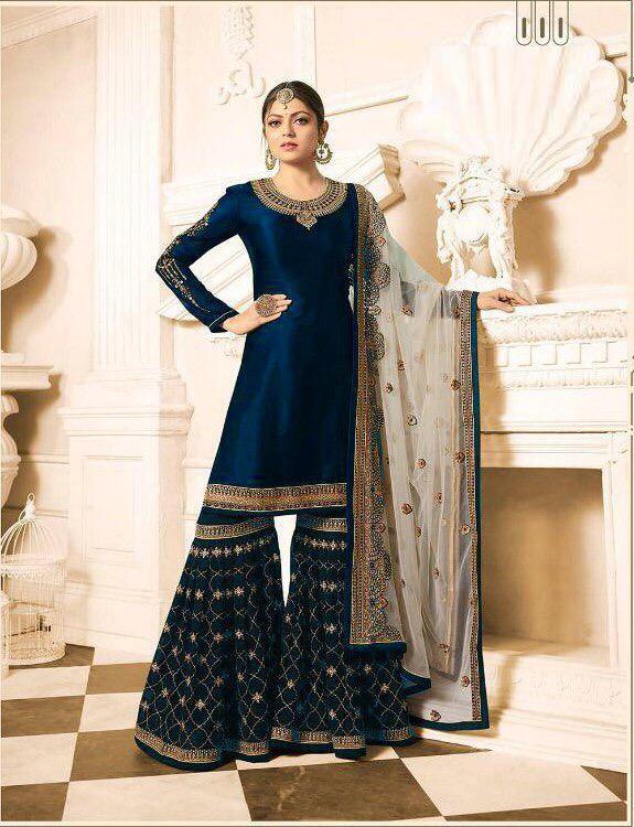 Drashti  Dhami Designer Satin Georgette Blue Plazo Suit