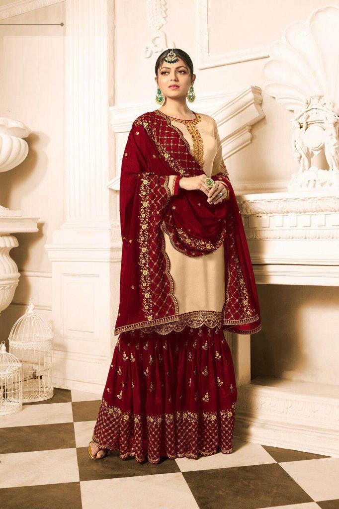 Drashti Dhami Designer Satin Georgette  Beige  And  Maroon  Sharara Suit