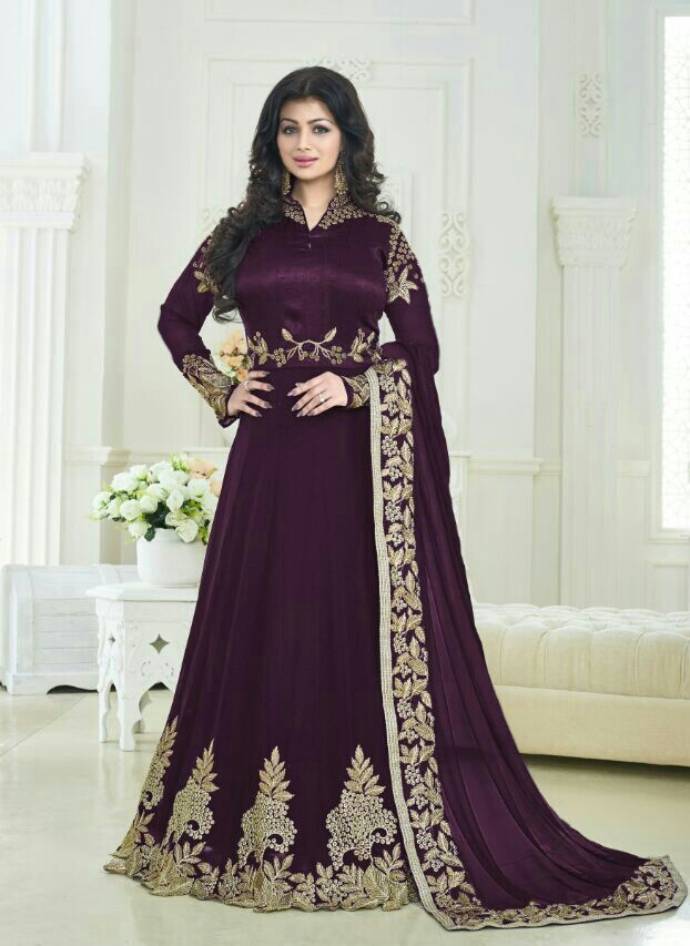 Ayesha Takia Designer Beautiful  Violet Long Anarkali Suit