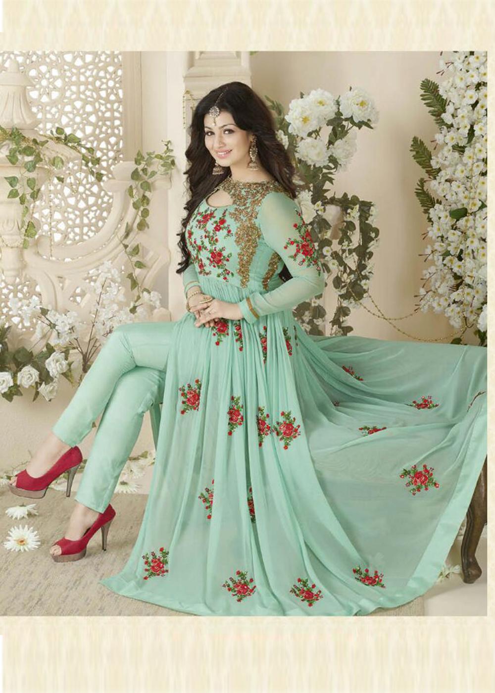 Designer Beautiful Light Green Flower Printed Long Anarkali Suit