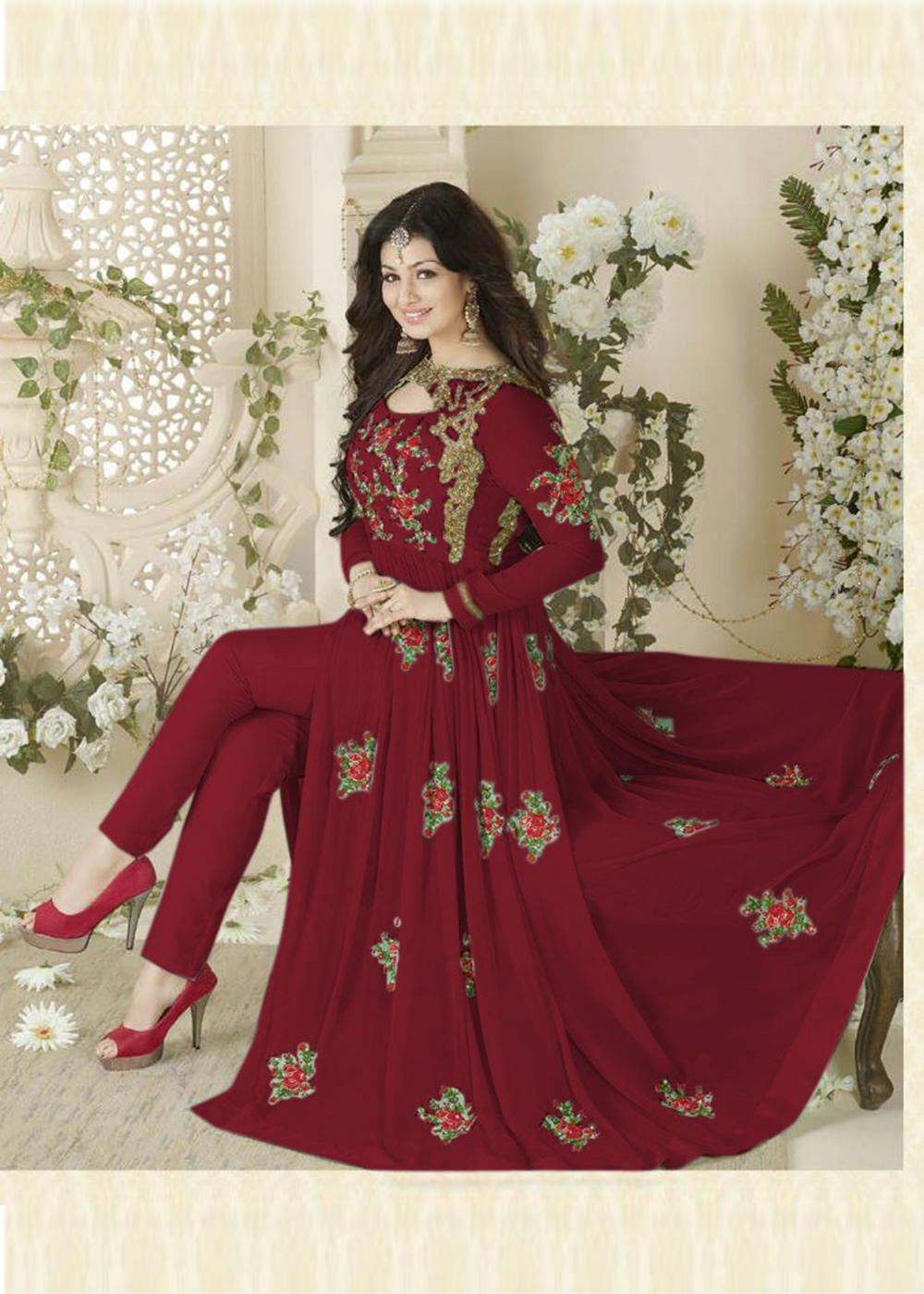 Designer Beautiful Red Flower Printed Long Anarkali Suit