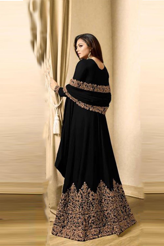 Drashti Dhami Faux Georgette Anarkali Suit In Black Colour