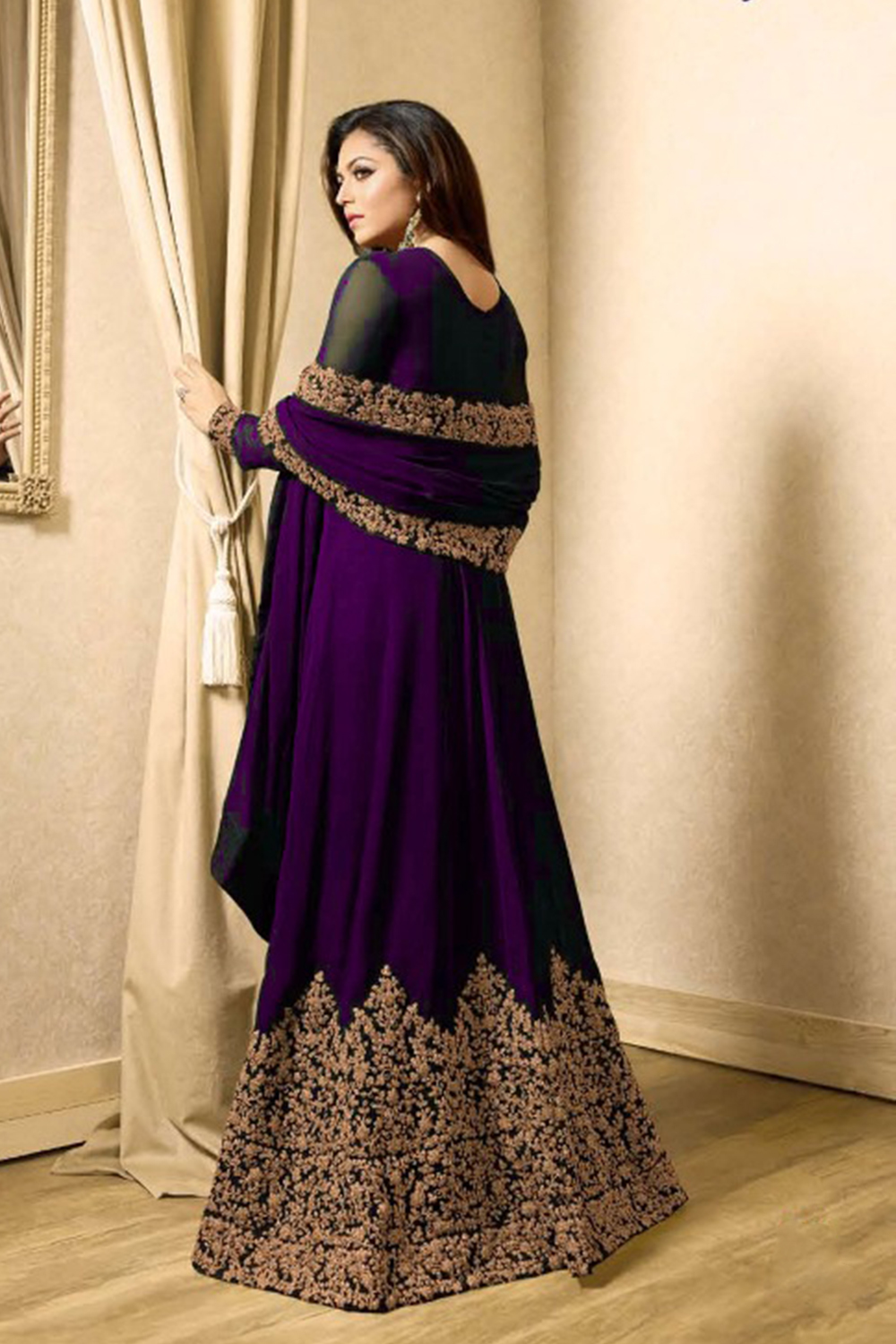 Drashti Dhami Faux Georgette Anarkali Suit In Purple Colour