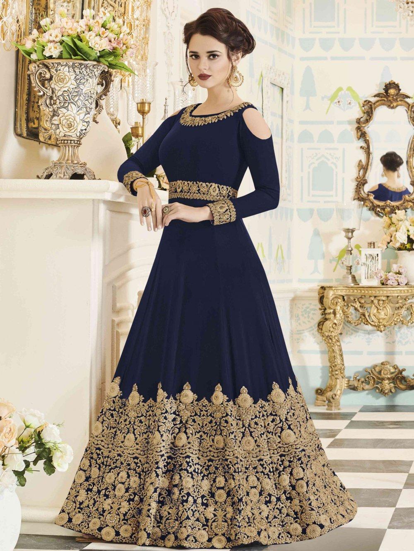 Blue Georgette Abaya Style Anarkali Cold Shoulder Designer Suit