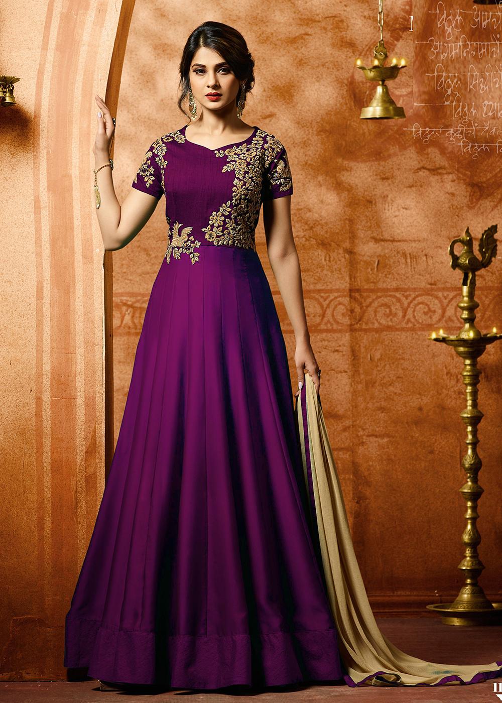 Jennifer Winget Purple Georgette Party Wear Embroidered Anarkali Suit