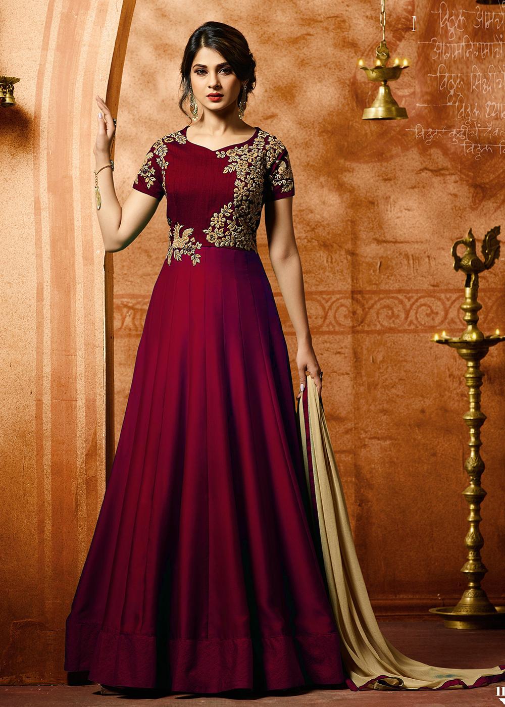 Jennifer Winget Maroon Georgette Party Wear Embroidered Anarkali Suit