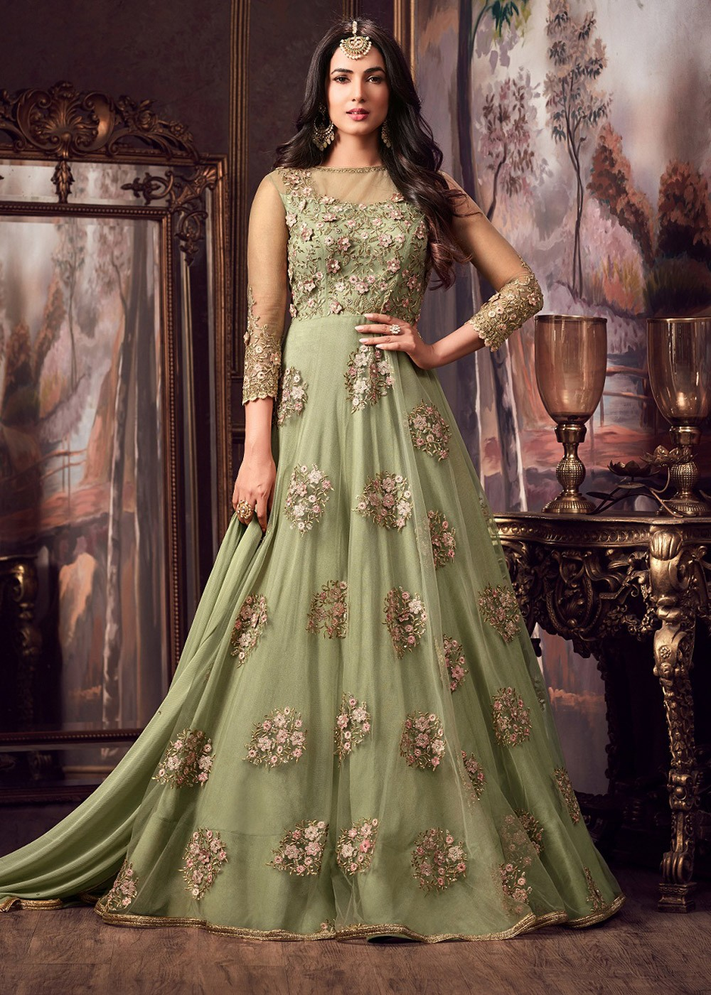 Maisha Green Party Wear Embroidery Anarkali Suit