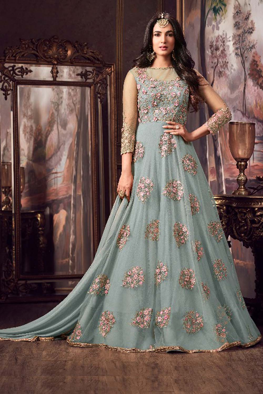 Maisha Sky Blue Party Wear Embroidery Anarkali Suit