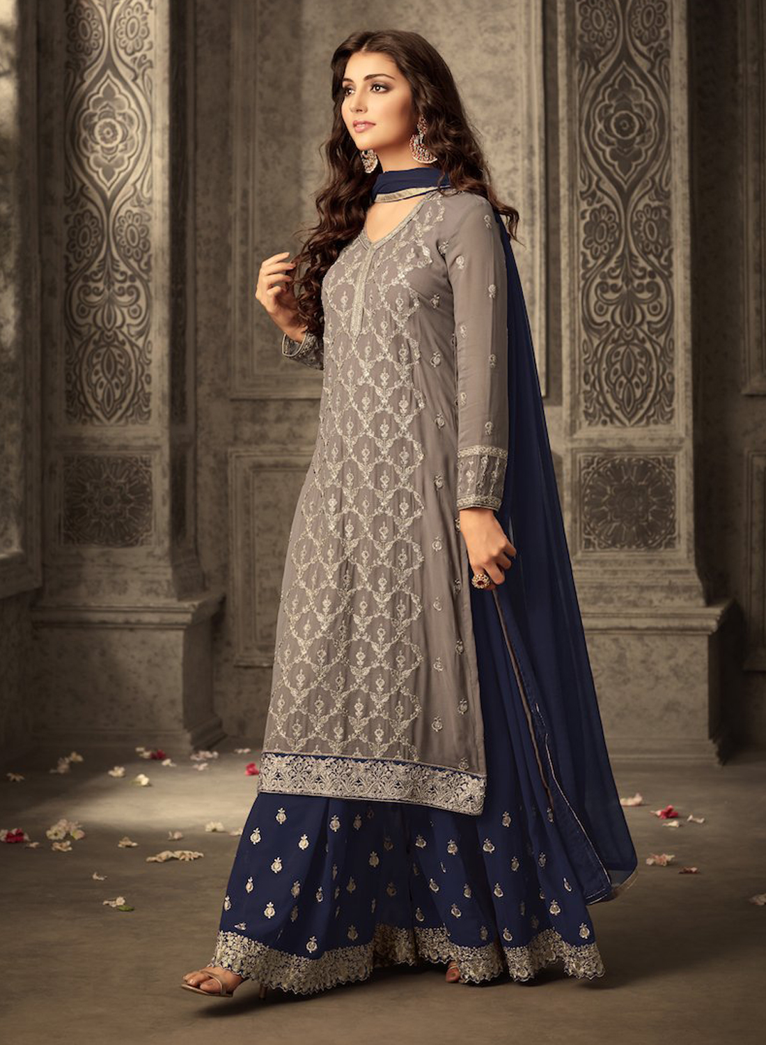 Brown&Blue Heavy Georgette Embroidery Work With Designer Sharara Suit