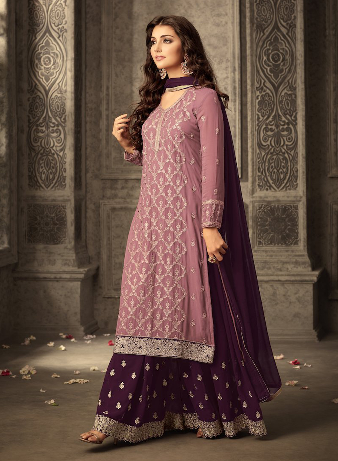 Pink&Purple heavy Georgette Embroidery Work With Designer Sharara Suit