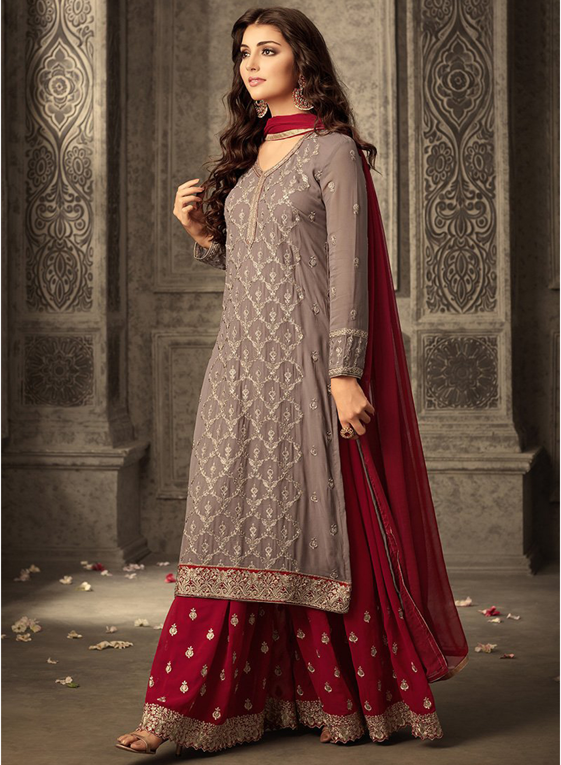 Grey  &Red  heavy Georgette Embroidery Work With Designer Sharara Suit