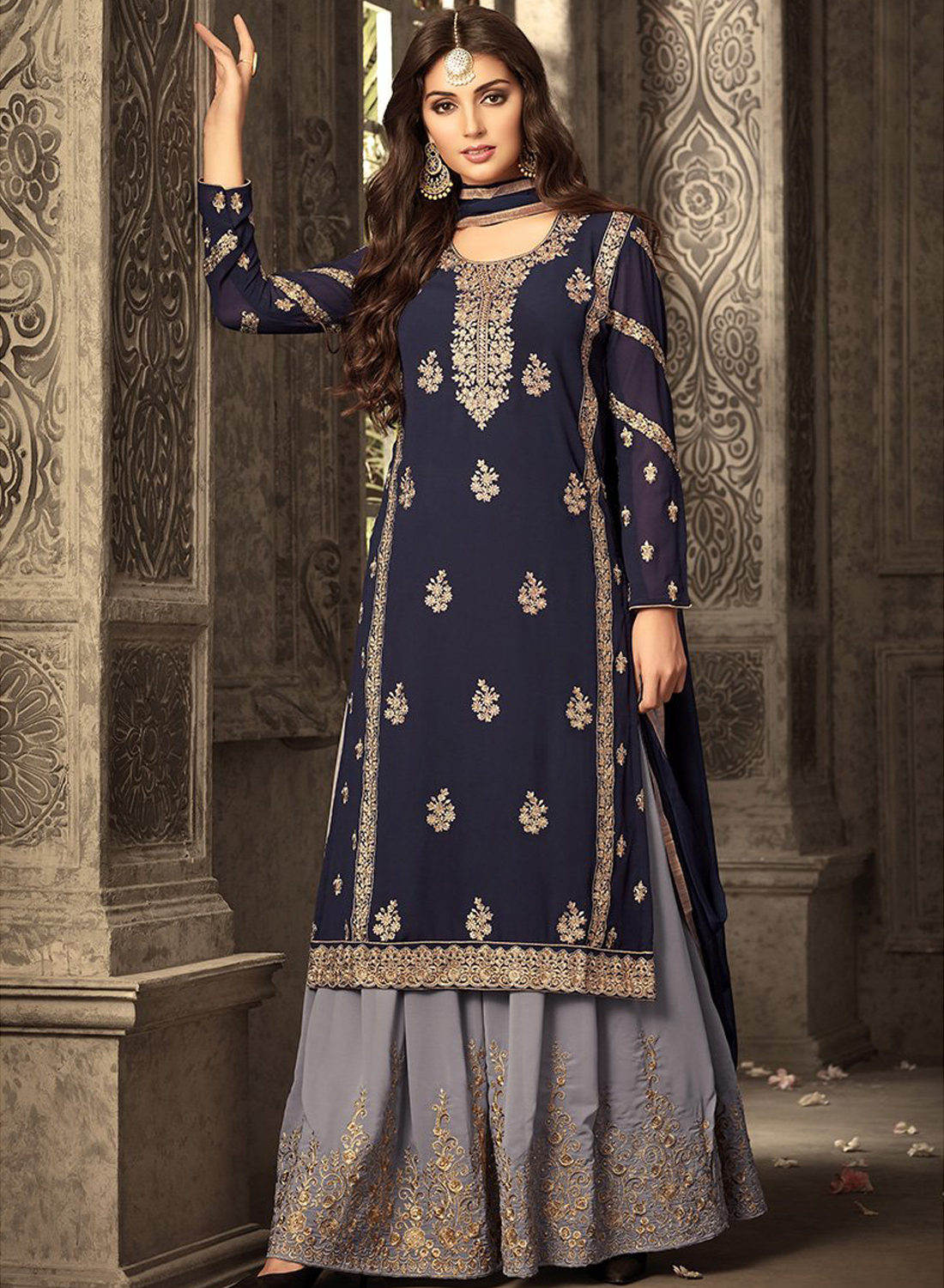 Blue Heavy Georgette Embroidery Work With Designer Sharara Suit