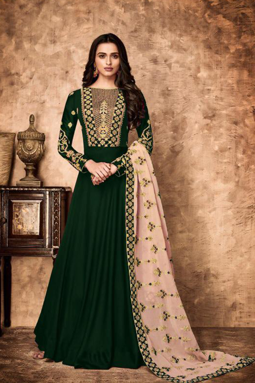 Designer Heavy Faux Georgette Green Color Embroidered Suit