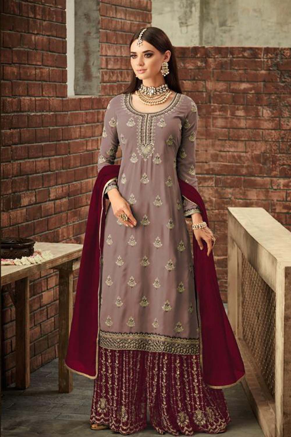 Awesome Georgette Beautiful Brown&Maroon Semi Stitch Embroidery Sharara Suit
