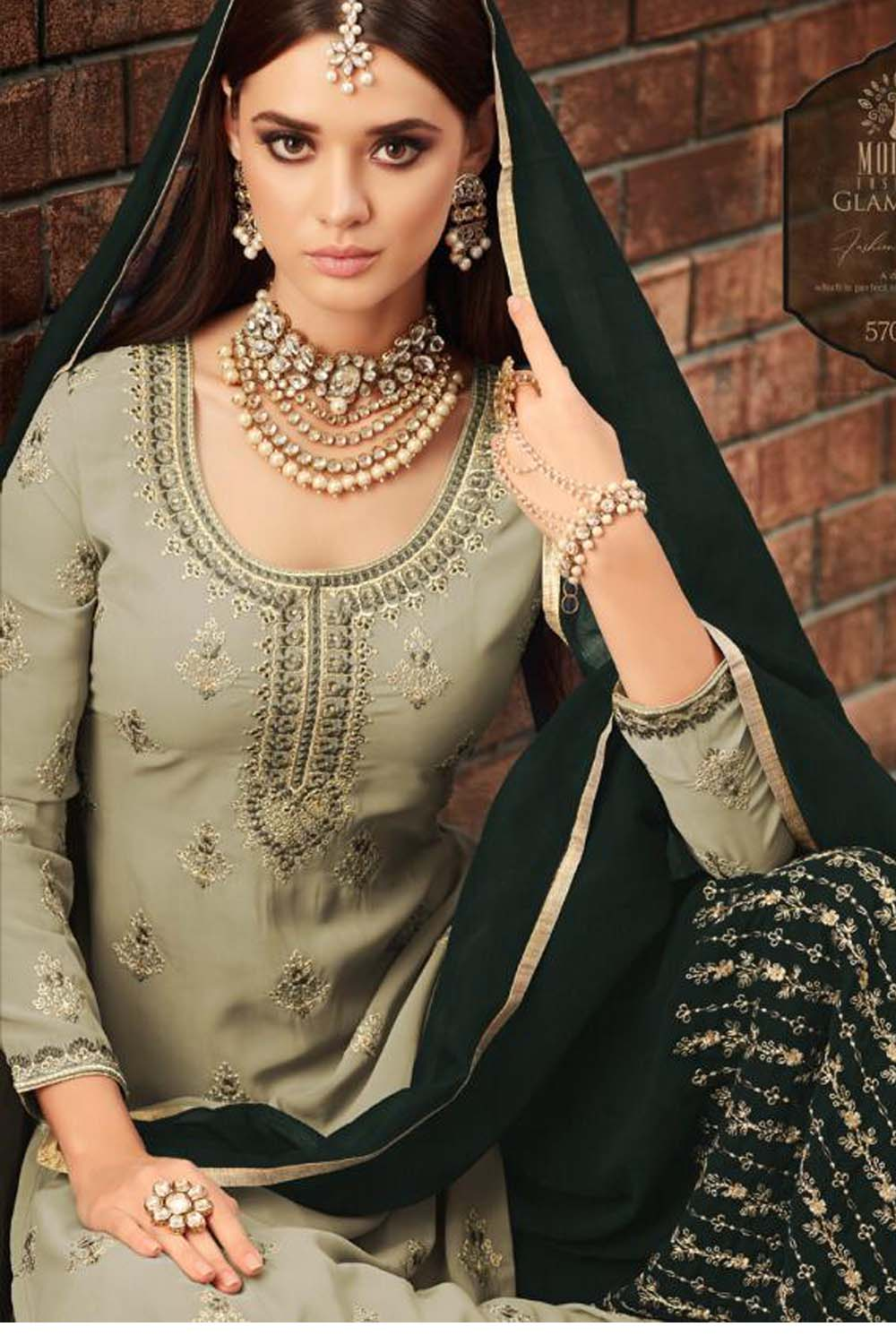 Awesome Georgette Beautiful Green Semi Stitch Embroidery Sharara Suit