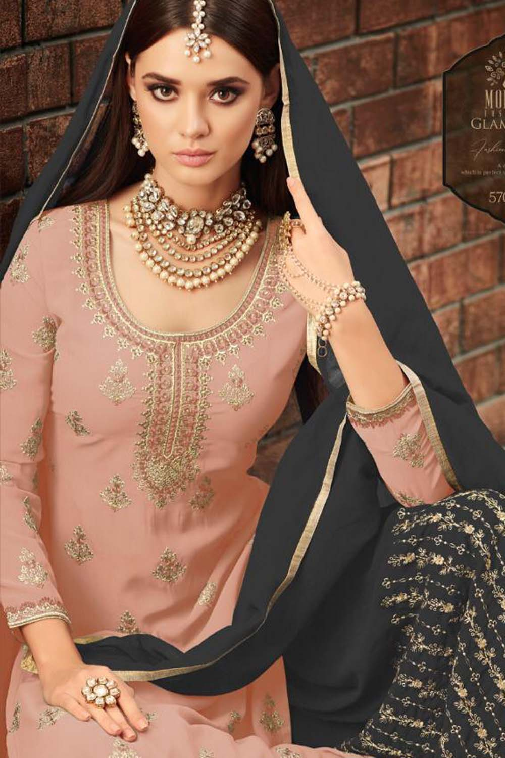 Awesome Georgette Beautiful Peach&Grey Semi Stitch Embroidery Sharara Suit