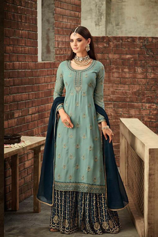 Awesome Georgette Beautiful Light/Dark Blue Semi Stitch Embroidery Sharara Suit
