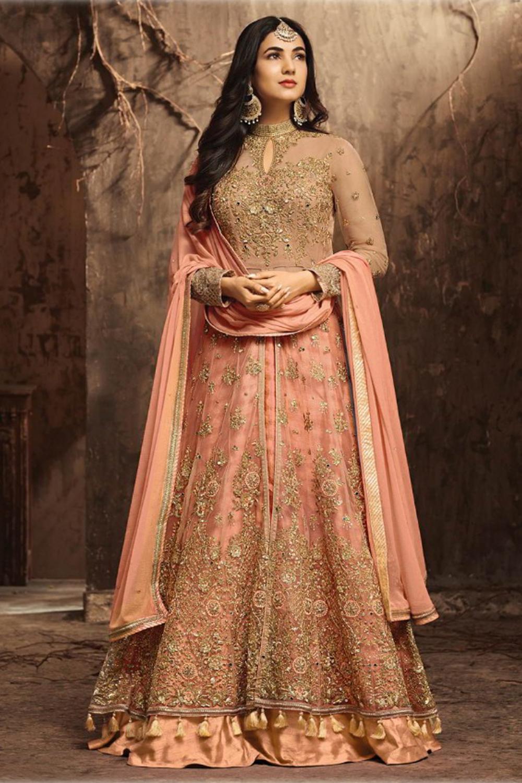 Beautiful Maisha Orange Banglory Silk Embroidery Lehenga